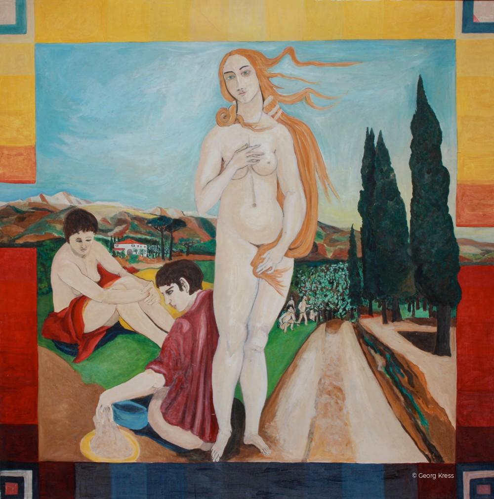 Schönheit - Venus am Weinberg. 1987. Eitempera, Öl auf Leinwand.