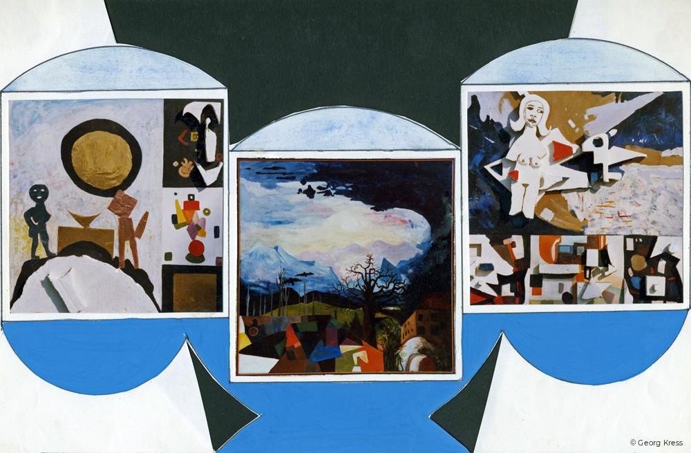 Schloss Amerang Triptychon. 1990. Eitempera, Öl, Styropor auf Leinwand, Holz.
