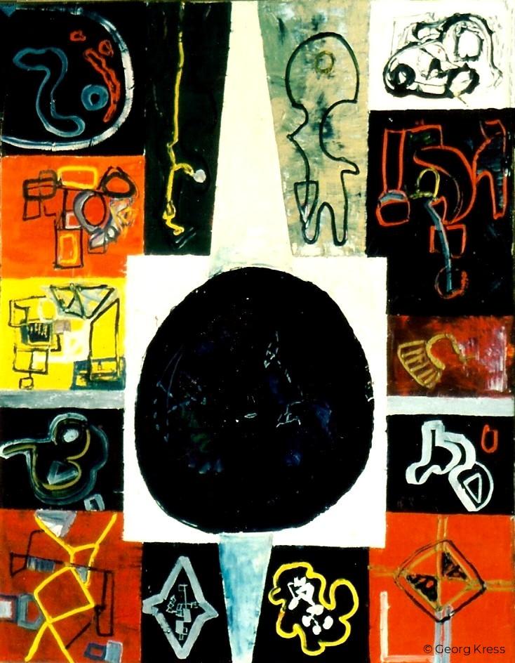 Surreale Abstraktion - Der schwarze Blumenstrauß. 1963. Tempera, Öl auf Leinwand.