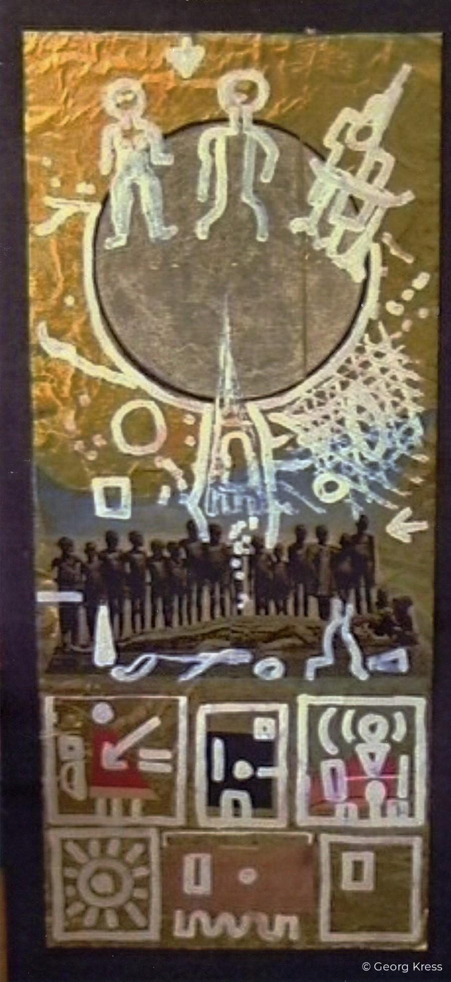Surreale Imaginationsreise zum Mond. 1976. Dispersion, Collage auf Folie, Holz.