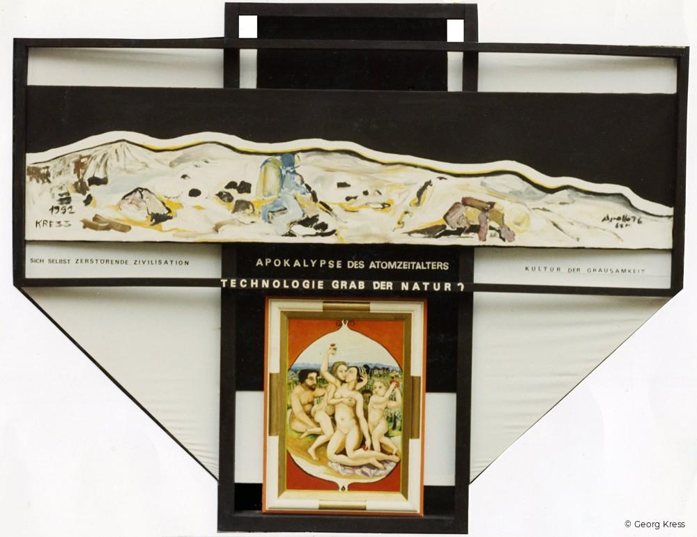Technologie - Grab der Natur. 1992. Eitempera, Öl, Dispersion auf Leinwand, Stoff, Holz.