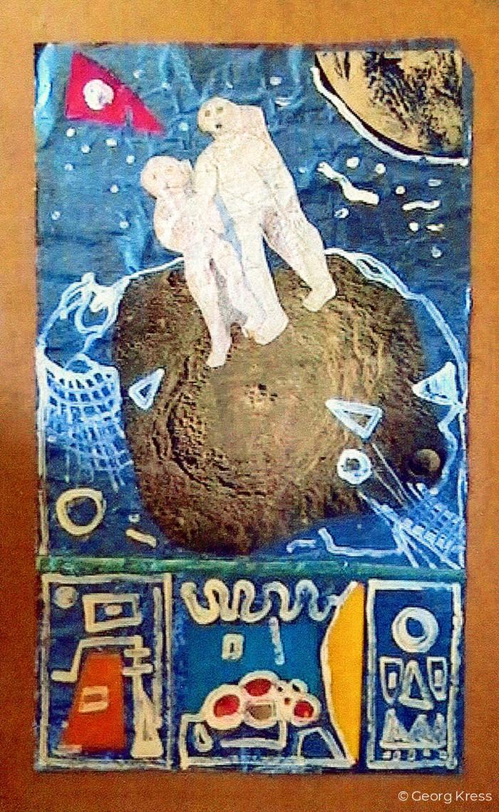 Zwei Astronauten. 1976. Dispersion, Collage auf Folie, Holz.
